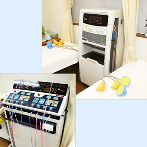 大川接骨院治療機器紹介 写真上 干渉派治療器、下 低周波治療器